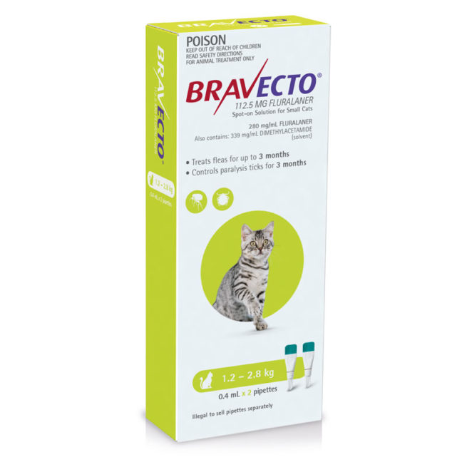 Bravecto Green Spot-on for Small Cats - 2 Pack 1