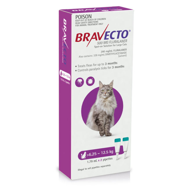 Bravecto Purple Spot-on for Large Cats - 2 Pack 1