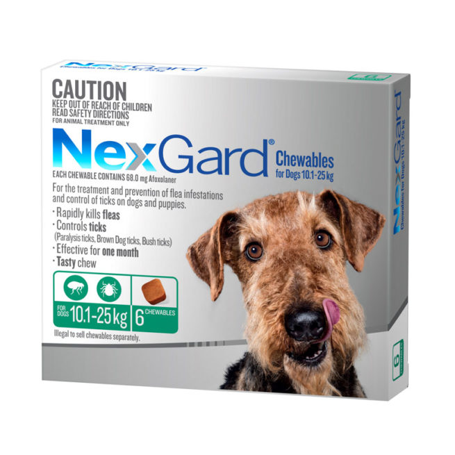 NexGard Green Chews for Large Dogs (10.1-25kg) - 6 Pack 1